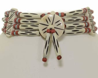 Turquoise Coral Bone Choker Navajo Jewelry Four Strand Necklace
