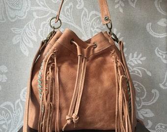 Bucket purse, crossbody fringe bag, fringed purse, leather bag women