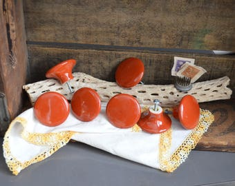 Set of 7 Vintage 2 inch Round Drawer Pulls Burnt Orange Knobs Hardware Lot Large Round Knobs Round Knob Vintage Japan Porcelain Screws