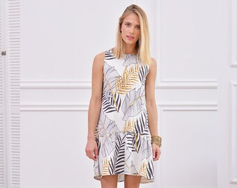 DRESS WITH FALBAN - gold black.