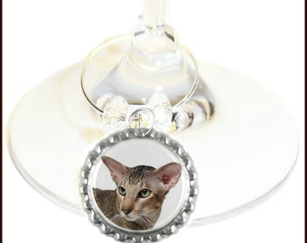 Cat Wine Charms - Feline Wine Charms  - Set Of 6