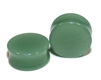 """Green Aventurine Plugs - 8g, 6g, 4g, 2g, 0g, 00g, 7/16"""", 1/2"""", 9/16"""", 5/8"""", 3/4"""", 7/8, 1"""""""