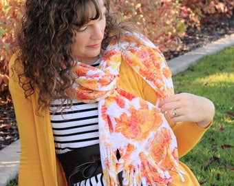 Scarf - Fall Floral - Fringe Wrap - Autumn Print - Lightweight Scarf - Gift for Mom - Gift for Her - Fall Fashion - Modest, Custom Sewing