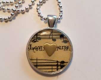 "Vintage Sheet Music Pendant with ""lovers"" Lyric and Ball Chain Necklace"
