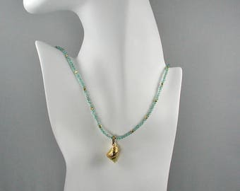 Apatite Gemstone Necklace with Removable Gold Plated Shell Charm Aqua Blue