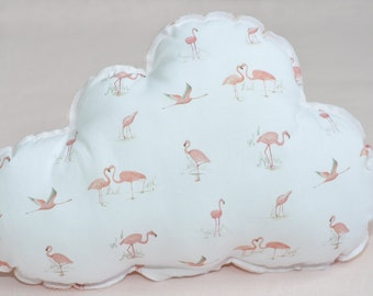 Flamingos cloud shaped cushion. Kids room. Nursery Decor. Coussin nuage flamants roses.