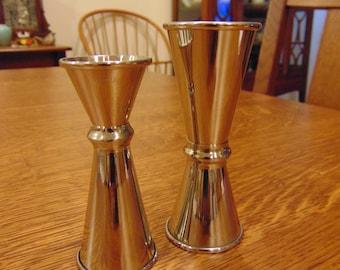 Vintage Pair of  Yukiwa Stainless Steel Shot Glasses (free shipping)