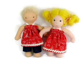 Red play dress for your 8 inch Waldorf doll dress and denim pants, slim doll dress, tiny doll dress, handmade cotton doll dress