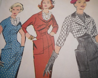 Vintage 1950's Advance 8451 Jacket, Jabot Dress Sewing Pattern Size 16 Bust 36