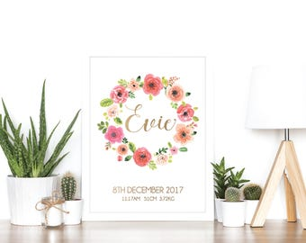 Baby Personalized Name Print or Birth Announcement - Rose Gold Foil and Watercolor - Baby Gift - Newborn