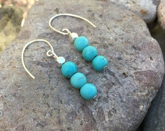 Turquoise Gemstone sterling silver drop earrings healing jewelry