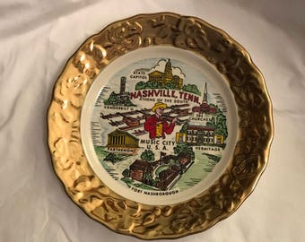 Vintage Nashville Tennessee Souvenir Plate 22k gold trim, made by Crown Gold USA