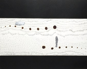 Burnt paper painting, ink China, embroidery and silver leaf link