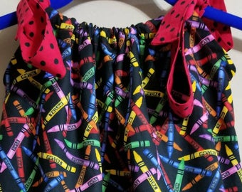 Girls dresses - Toddler dresses  - pillowcase dress - Girls clothing - crayola