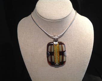 Stunning Dichroic Glass Sterling Pendant Italian Chain