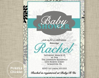 Flower Baby Shower Invitation Baby Girl Invite Floral Invite Teal Blue Gray Adult Party Invitation Printable Personalized JPG File Invite 22