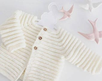 Knit baby cardigan - merino knit baby cardigan - handknit sweater - handmade newborn - knit baby jacket - newborn knit