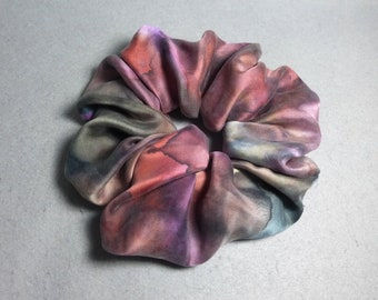 """Silk Scrunchie (Large) """"Rust and Brown with Purple"""", Hand Painted Silk Satin Hair Scrunchie"""