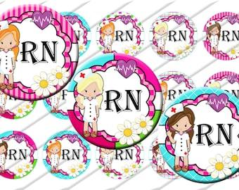 RN Nurse Bottle Cap Images 1 inch circle image sheet Digital Collage INSTANT DOWNLOAD Clipart Clip  art