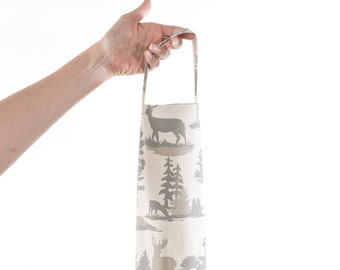 rustic deer grocery bag holder, woodland fabric, plastic bag dispenser, antlers trees, cabin decor, animal print bathroom organizer, storage