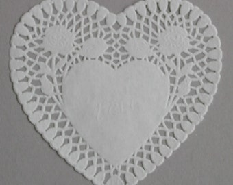 24 White Heart shaped paper doilies, 8 inch size, Valentine's Day, Wedding, Party decor