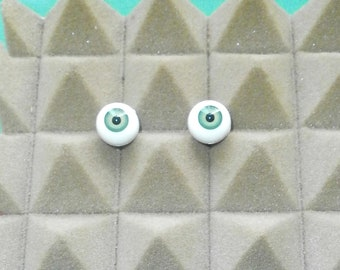 "pair of acrylic eyes green 0.55""/14 mm / realistic eyes/ BJD/ Glastic/Vintage"
