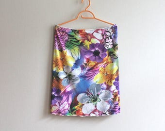 Multicolor Skirt Floral Print Knee Skirt Elastic Waist Jersey Skirt A-Line Stretchy Skirt Blue Pink Yellow Small Size