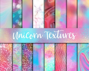 Unicorn textures, digital paper, watercolor backgrounds, foil texture jpg, bokeh background, colorful marble, pastel leather, fantasy clipa