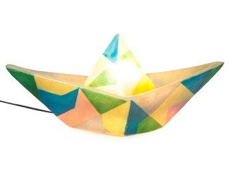 Paper Boat - fiberglass lamp (Triangles design)