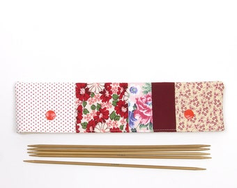 """DPN cozy for sock needles, 8"""" / 20cm DPN holder, patchwork red needle pouch with snaps"""
