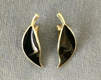 David Andersen. Black Enamel. Silver Gilt Clip Earrings. Willy Winnaess. 1950-60's. FREE SHIPPING