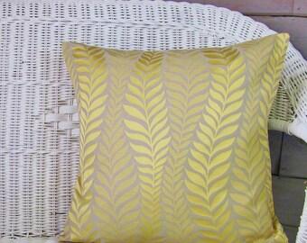 Yellow Gray Pillow Cover, Yellow Pillow, Botanical Pillow, Decorative Pillow Cover, 18x18, Ready To Ship