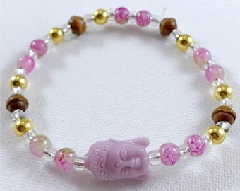 Purple & Gold Buddha Bracelet
