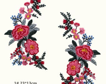 A pair Floral Patches Flower Patches Iron On Patch Embroidered Patch Sew On Patch Patches For Jackets