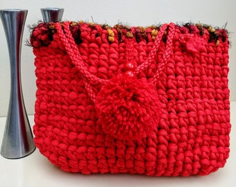 Handbag red jersey bag,  handmade, arm bag, vintage crochet bag, grab bag, gift for her, original, unique, one-of-a-kind