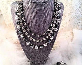 """Swarovski crystal necklace/""""Triple Threat""""/3-strand black and clear necklace/Statement necklace/Black crystal necklace"""