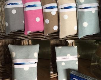 Pretty Vintage Polka Dot Spotty ~ Seafoam Blue ~ Pocket Tissue Holder inc. tissues
