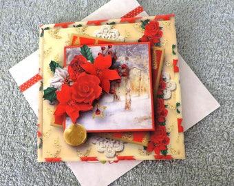 Handmade snowy Christmas layered card.