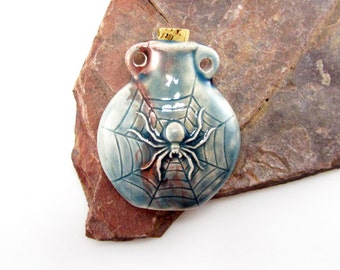 Peruvian Ceramic Raku Spider Bottle