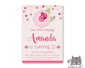 Girl's 2nd Birthday Ladybug Invitations, Little Ladybug Theme Party, 1st 2nd 3rd 4th Birthday Any Age, Printable or Printed Invites 126