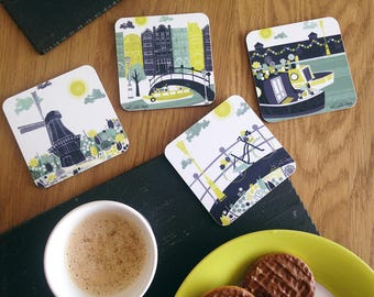 Amsterdam Coaster Set / Mothers Day Gift / Amsterdam Gift / Melamine And Cork Backed Coasters / Drink Coaster Set / New Home Gift Idea