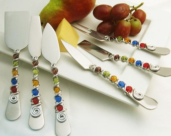 6 piece cheese tool set - hand wire wrapped and beaded - royal glass disc beads