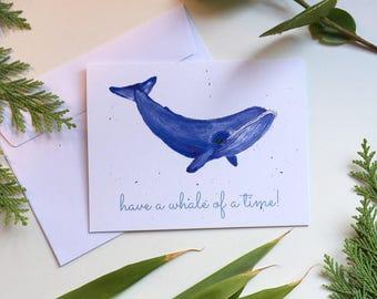 Greetings card/birthday card/celebration card/whale illustration