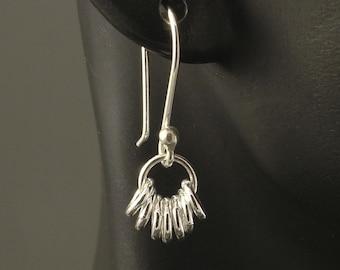 Little Silver Earrings - Lucky 7 Sterling Silver Earrings Small Sterling Dangle Drop Earrings Little Dangle Earrings Tiny SS