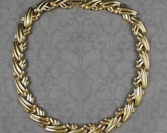 Vintage 1980s Napier Shiny Gold Linked Necklace