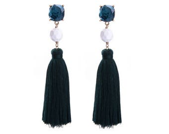 Blue Tassel Earrings with Blue and White Gemstones