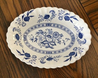 MEAKIN BLUE NORDIC Oval Serving Bowl - Classic White - Blue Nordic Open Vegetable Bowl