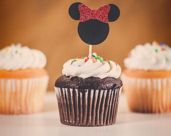 12 glitter Minnie Mouse Cupcake Toppers, red glitter minnie cupcake toppers, black and red birthday decorations, party cupcake toppers