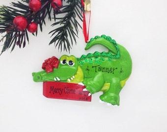 Crocodile Personalized Christmas Ornament / Crocodile / Animal Ornament / Reptile / Hand Personalized Christmas Ornament