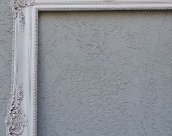 RESERVED Layway - 24x36 White Picture Frame, Ornate Picture Frame, White Floral Picture Frame, Gallery Frame, Large  Floral Frame